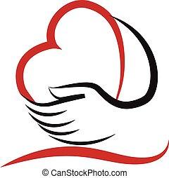 logotipo, corazón, vector, amor, manos