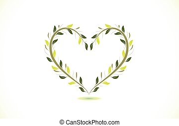 logotipo, corazón, vector, floral
