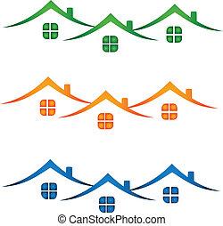 Logotipo de bienes raíces, casas coloridas