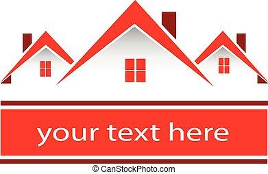 Logotipo de casas rojas inmobiliarias