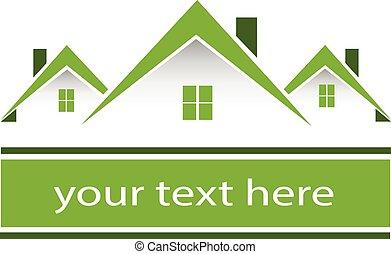 Logotipo de casas verdes inmobiliarias