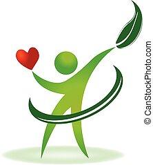 Logotipo de cuidado cardíaco natural