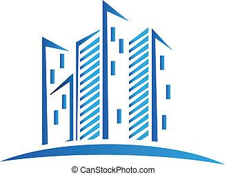 Logotipo de edificios azules modernos