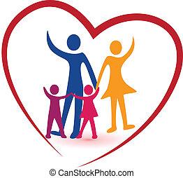 Logotipo de familia y corazón rojo