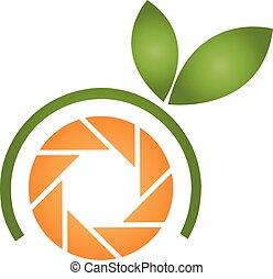 Logotipo de fotografía naranja