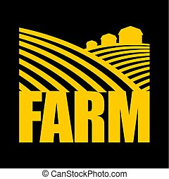 Logotipo de granja. Signo de agricultura. Tierras disponibles y tierras agrícolas