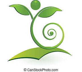 Logotipo de hoja de hombre saludable