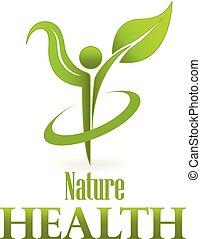 Logotipo de hoja verde de la naturaleza de la salud, icono vector