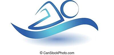 Logotipo de icono deportivo de natación