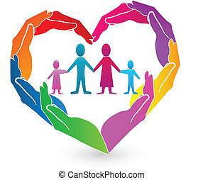 Logotipo de manos familiares