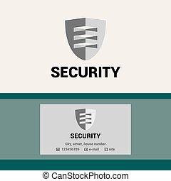 Logotipo de plantilla y tarjeta de negocios para la organización de seguridad. El escudo y visor