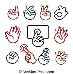 Logotipo de redes sociales abstractas. Manos humanas y logotipos de dedos. Colecciona botones de Website. Vale, paz, dame cinco, dedos apuntando, señales de puño. Victoria, hola símbolo. Ilustración de vectores.