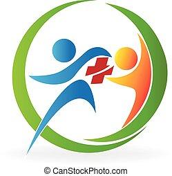 Logotipo de salud de trabajo en equipo