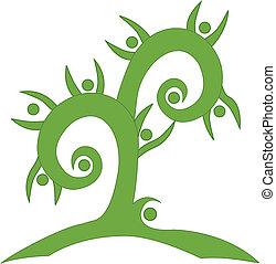 Logotipo de trabajo de equipo verde