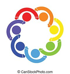 Logotipo de trabajo de grupo de siete personas. Tomando de la mano.