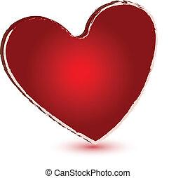 Logotipo de vector cardíaco grunge rojo