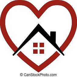 Logotipo de vector de casa y corazón