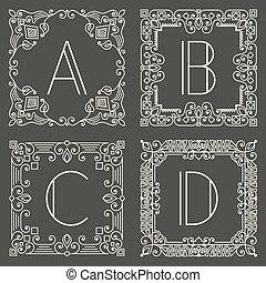 Logotipo de vector floral y monograma geométrico con letra mayúscula sobre fondo gris oscuro. Diseño de monogramas.