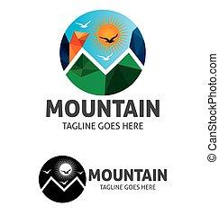 Logotipo de vector solar de montaña