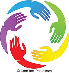 logotipo, diseño, alrededor, manos
