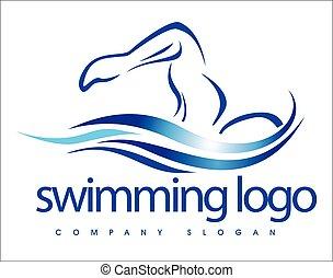 logotipo, diseño, natación