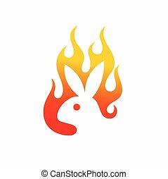 logotipo, diseño, vector, logotipo, conejo, fuego