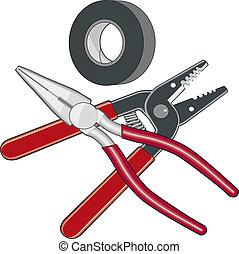 logotipo, electricista, herramientas