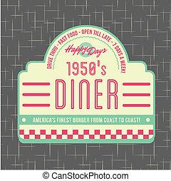 logotipo, estilo, diseño, 1950s, comensal