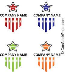 logotipo, estrella, rayas