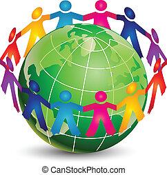 logotipo, feliz, gente, alrededor, mundo