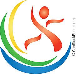 logotipo, figura, condición física