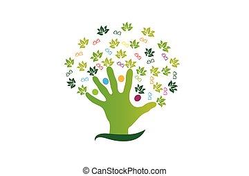 logotipo, figuras, gente, árbol, mano
