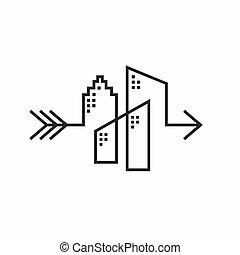 logotipo, flecha el diseño, edificio