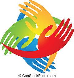 logotipo, forma, diamante, manos