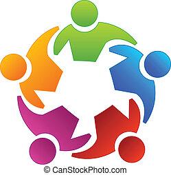 logotipo, gente, diversidad, trabajo en equipo