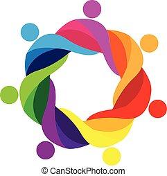 logotipo, gente, trabajo en equipo, abrazado, icono