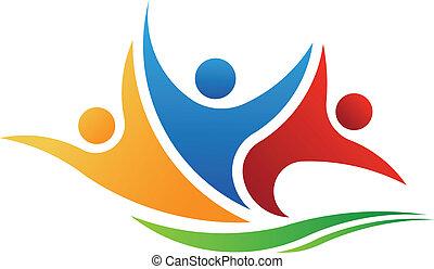 logotipo, gente, vector, tres