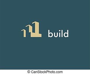 logotipo, geométrico, construcción, compañía, edificio, formas