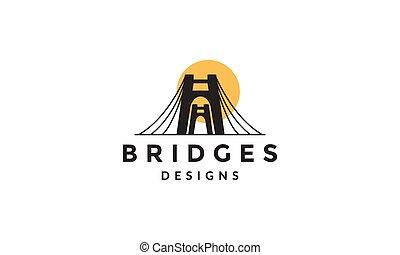 logotipo, icono, moderno, vector, ilustración, puente, puerta, silueta, diseño