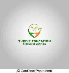 logotipo, idea, educación, prosperar, plantilla, diseño