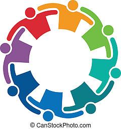 logotipo, imagen, abrazo, 8, trabajo en equipo