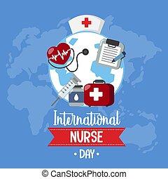logotipo, internacional, enfermera, objetos, día, médico