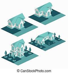 logotipo, isométrico, bungalow, alquiler, apartamento, simple, edificio, conjunto, -, casa, motel