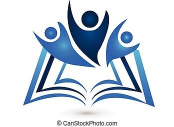 logotipo, libro, educación, trabajo en equipo
