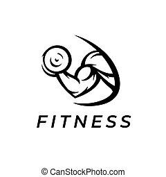 logotipo, músculo, bicep, gimnasio