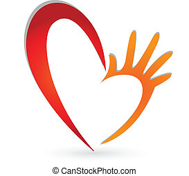 logotipo, manos, corazón
