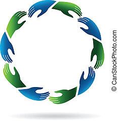 logotipo, manos llegar