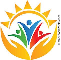 logotipo, manos, trabajo en equipo, sol