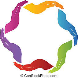 logotipo, manos, trabajo en equipo, solidaridad