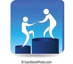 logotipo, metas, éxito, montañismo
